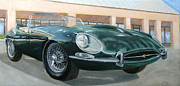 Jaguar E Type Classic Car Framed Prints - Happy 40th Framed Print by Jack Atkins