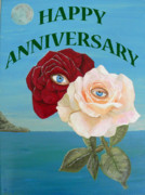 Greetings Card - Happy Anniversary Roses by Eric Kempson