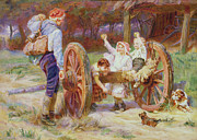 Quaint Metal Prints - Happy as the Days are Long Metal Print by Frederick Morgan