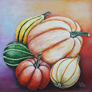 Five Canvas Paintings - Happy Autumn by Jutta Maria Pusl