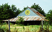 Barbed Wire Fences Photos - Happy Barn by Lisa Moore