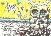 Art Brut Drawings - Happy Belated Birthday by Robert Wolverton Jr