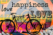 Children Licensing Metal Prints - Happy Bicycle Love Metal Print by AdSpice Studios