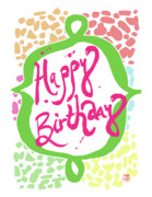 Drawn Mixed Media Framed Prints - Happy Birthday Framed Print by Amy Gaitan