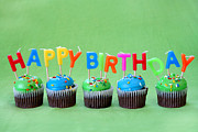 Frosting Prints - Happy Birthday Cupcakes Print by Darren Fisher