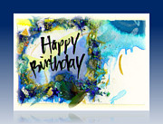 Mixed Media Calligraphic Collage Posters - Happy Birthday  Poster by L Jaye  Bell