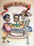 Greeting Cards Painting Prints - Happy Birthday woman skull Print by Heather Calderon