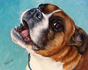 Boxer Metal Prints - Happy Boxer Dog Metal Print by Dottie Dracos