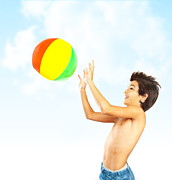 Throw Posters - Happy boy with beach ball  Poster by Anna Omelchenko