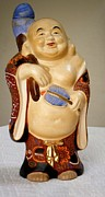 Floral Ceramics Originals - Happy Buddah Statue by Bruce Iorio