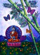 Uplifting Mixed Media Prints - Happy Buddha and Prosperity Bamboo Print by Lori Miller