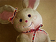 Pink Ribbon Prints - Happy Bunny Print by Methune Hively