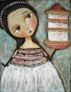 Childrens Art Mixed Media Framed Prints - Happy Cake Framed Print by Patti  Ballard