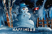 Snow Scene Mixed Media Prints - Happy Canadian Print by Ray Swaluk