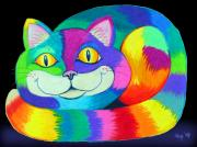 Animals Drawings - Happy Cat dark back ground by Nick Gustafson