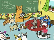 Kittens Digital Art - Happy Cats First Day of School by Connie Kottmann