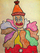 Early Pastels Metal Prints - Happy Clown Metal Print by Robyn Louisell