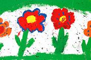Happy Colorful Flowers Print by Gaspar Avila