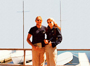 Marian Cates Metal Prints - Happy Couple At The Yacht Harbor Metal Print by Marian Cates
