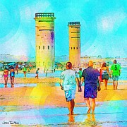 Rehoboth Beach Prints - Happy Couples 2 Print by Jeffrey Todd Moore