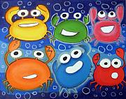 Hanging Pastels Originals - hAppY cRAbS by Mara Morea