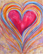 Orange And Yellow Heart Acrylic Prints - Happy Dancing Heart by Samantha Lockwood