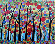 Fantasy Tree Art Paintings - Happy Day In The Forest by Suzeee Creates