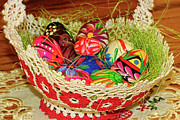 Happy Easter Basket Print by Mariola Bitner