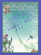 Card Of The Holiday Mixed Media Framed Prints - Happy Easter Holiday Card Framed Print by Debra     Vatalaro