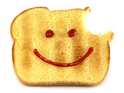 Snack Metal Prints - Happy face and Bread Metal Print by Blink Images