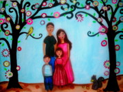 Family Love Paintings - Happy Family by Pristine Cartera Turkus