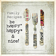 Inspirational Mixed Media - Happy Family Recipes by ArtyZen Studios