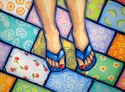 Youthful Painting Metal Prints - Happy Feet Metal Print by Sandra Lett