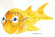 Golden Fish Art - Happy Fish with Glasses by Fred Jinkins