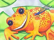 Smile Painting Framed Prints - Happy Frog Framed Print by Catherine G McElroy
