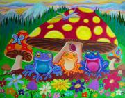 Whimsical Art Painting Prints - Happy Frog Meadows Print by Nick Gustafson