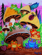 Whimsical Frogs Posters - Happy Frog Valley Poster by Nick Gustafson
