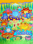 Sunsets Drawings Posters - Happy Frogs in Mushroom Valley Poster by Nick Gustafson