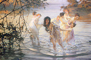 Bathing Framed Prints - Happy Games Framed Print by Paul Chabas