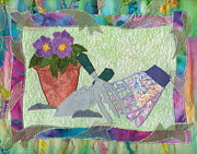 Blooms Tapestries - Textiles Framed Prints - Happy Gardening Framed Print by Denise Hoag