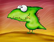 Featured Digital Art - Happy green dragon by Toosh Toosh