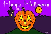 Haunted House Digital Art Metal Prints - Happy Halloween 2 Metal Print by George Pedro
