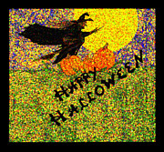 Autumn Holiday Mixed Media Posters - Happy Halloween Poster by Catherine Geernaert