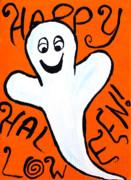Happy Halloween Ghost Print by Jera Sky