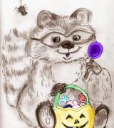 Raccoon Digital Art - Happy Halloween Raccoon by Sonya Chalmers