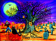 Spooky  Paintings - Happy Halloween Spooky Night by Nick Gustafson
