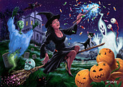 Witch With Cat Posters - Happy Halloween Witch with graveyard friends Poster by Martin Davey