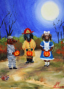 Dog Paintings - Happy Halloweenies Fireman Alice Prisoner by Stella Violano