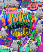 Menorah Mixed Media Prints - Happy Hannuka Print by Joyce Goldin