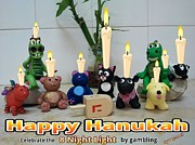 Clay Drawings - Happy Hannukah Greeting Card From Oyvey.co.il by Yasha Harari